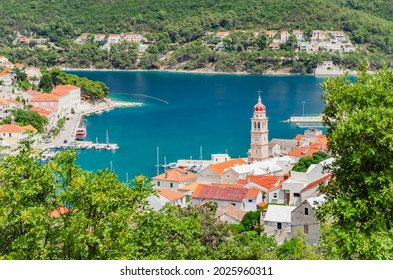 Spectacular view on Pucisca town located on the north coast of Brac island in Croatia