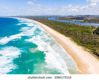 A spectacular view over Wommin Bay from Fingal Head lighthouse towards Kingscliff in New South Wales, Australia