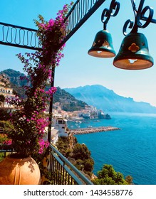 A spectacular view overlooking the town of Amalfi and harbour in Salerno Province on the Gulf of Salerno.