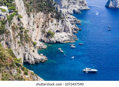 Spectacular View of Sea Cliffs and Coastline from Augustus Gardens, Isle of Capri, Italy