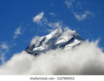 spectacular view of the snowy summit of  mount cook  from along the hooker valley track in summer, near mount cook village, on the south island of new zealand