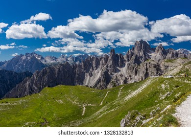 Spectacular view of Tre Cime de Lavaredo loop trail in Dolomites. Italy