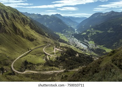 Spectacular view at the winding road in the high mountains of Austria, traveling on the Gotthard mountain pass
