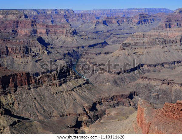 spectacular viewpoint along hermit's rest road over the colorado river and  the south rim of the grand canyon in arizona