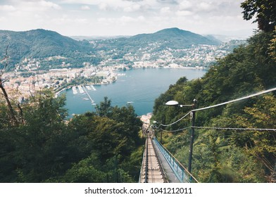 Spectacular viewpoint of Lake Como from the funicular - Brunate, Como, Italy - Lombardys.