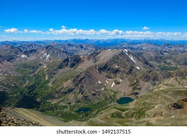 Spectacular views across mountains and two alpine lakes from the summit of Mount Massive, a 14er in Colorado, USA.