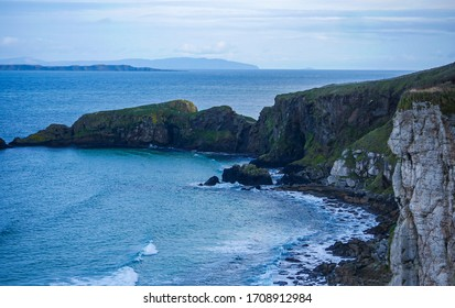 spectacular views of the Carrick-a-Rede coast from the cliff-side trail along the way to Carrick-a-Rede Rope Bridge