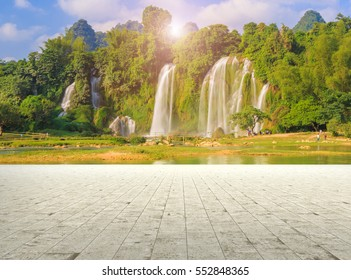The spectacular waterfall Detian