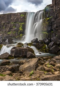 Spectacular waterfall at Tingvellir in Iceland 3