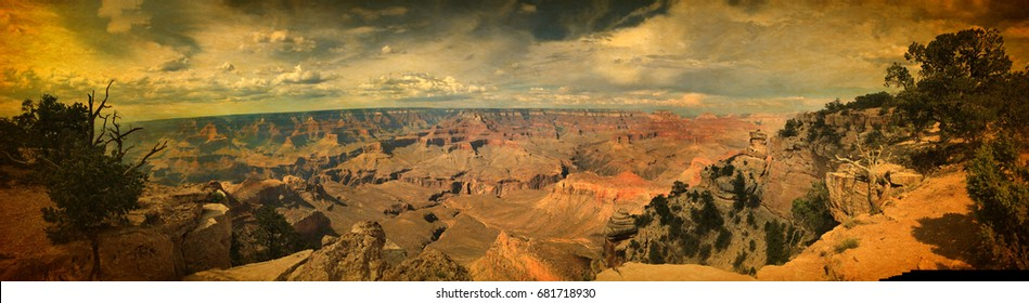Spectacular wide panoramic view over Grand Canyon mountains south rim in vintage style