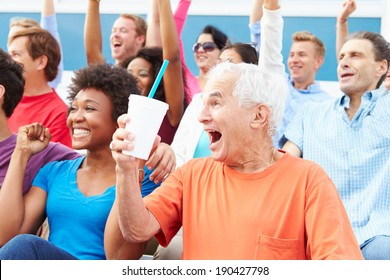 Spectators Cheering At Outdoor Sports Event
