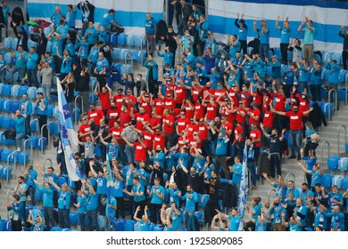Spectators and fans in masks from Zenit St Petersburg during the Russian Premier League 2020-2021 between Zenit Saint Petersburg and Rostov at the Gazprom Arena in Saint Petersburg.
