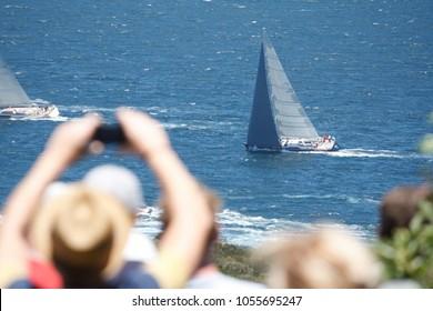 Spectators Watching Sydney To Hobart Yacht Race