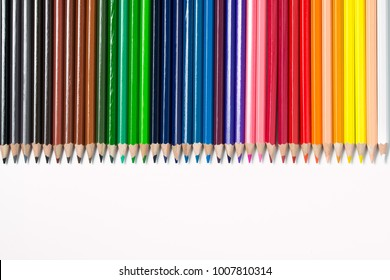 Spectrum color pencils set isolated on white background