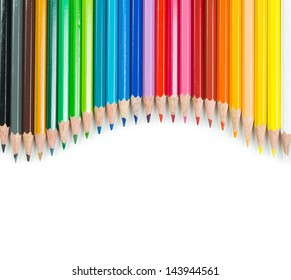 Spectrum of color pencils with white copyspace