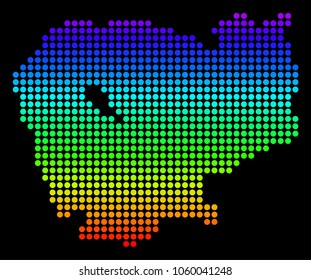 Cambodian map images stock photos vectors shutterstock spectrum dotted pixelated cambodia map raster geographic map in bright colors on a black background malvernweather Gallery