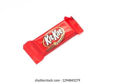 Speculator, NY - January 21, 2018: A KitKat chocolate candy bar in it's distinctive red wrapper.