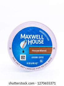 Speculator, NY - July 23, 2018: A single serving K-CUP pod of Maxwell House - House Blend medium roast Arabica coffee for use in a Keurig brewer.