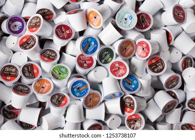 Speculator, NY - May 3, 2018: A pile of used K-cups from an office, concept waste and plastic pollution