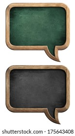 speech bubble blackboards or chalkboards set isolated on white with clipping path included