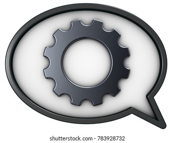 speech bubble and gear wheel on white background - 3d rendering