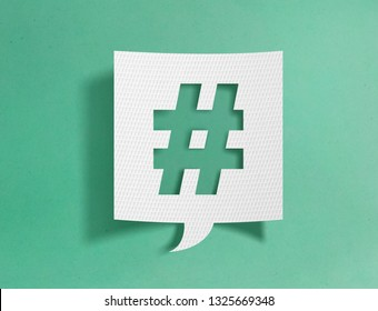 Sprechblase mit Hashtag-Symbol