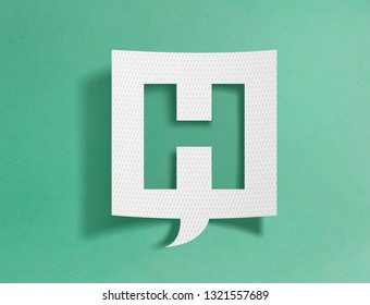 Speech bubble with letter H