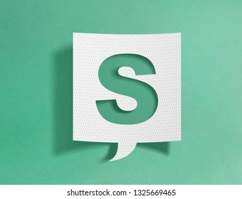 Speech bubble with letter S