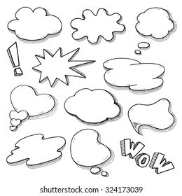 Speech bubble set in comics style, hand drawn sketch thought clouds illustration