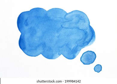 Speech Bubble/ Watercolor Blue blank speech bubble on white background