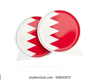 Speech bubbles with flag of bahrain. Round chat icon isolated on white, 3D illustration