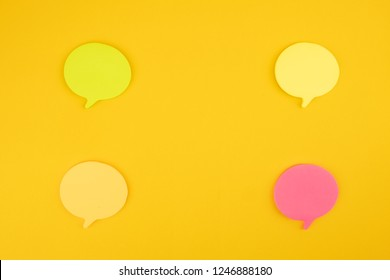 Speech Bubbles isolated on yellow cardboard