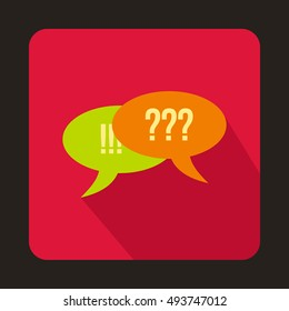 Speech bubbles with question and exclamation marks icon in flat style on a crimson background  illustration