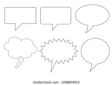 Speech bubbles and sales sticker collection isolated in clean line