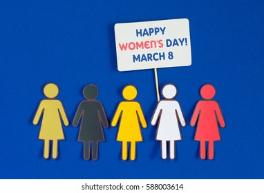 speech bubbles with text Happy Woman's Day and paper Group of Women different races under them. celebrated on march 8