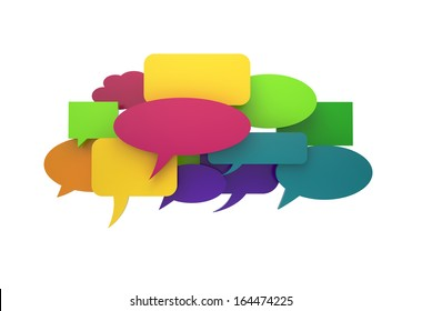 Speech cloud blank bubbles isolated with clipping path on white
