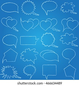 Speech, conversation, thoughts blueprint. Romantic chat. Set of isolated elements of the dialogue. Collection bubbles messages. Raster illustration.
