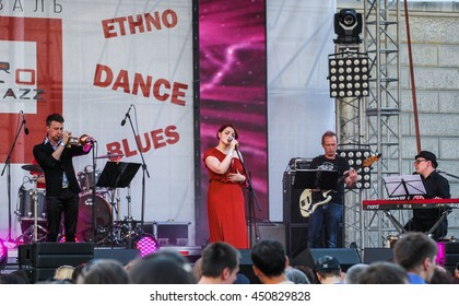 Speech jazz group. St. Petersburg, Russia - 2 July, 2016. Annual international festival of jazz and blues in St. Petersburg.