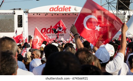 Speech of Mr. Kilicdaroglu, head of the secularist Republican People's Party (CHP), from a distance & between Turkish flags. (The Justice Rally - July 09, 2017 - Istanbul / Turkey)