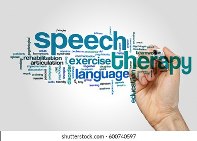 Speech therapy word cloud on grey background
