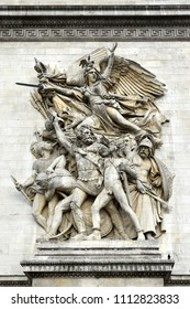 """Speech of Volunteers"" is traditionally called ""Marseillaise"", sculptural group by Francois Ryde on the Paris Arc de Triomphe, Paris, France"