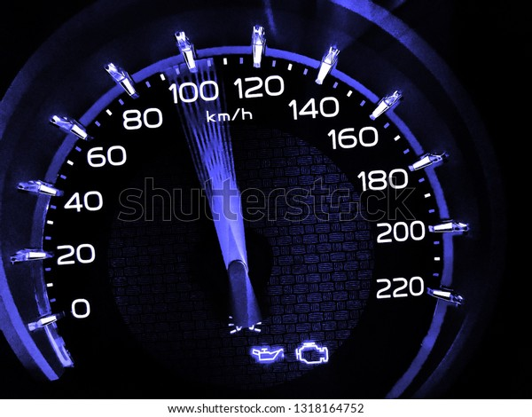 At a speed of 100 kilometers per hour of High lifters truck on car dashboard.Concept Driving fast is dangerous.