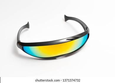 Speed bike cyclops X-men glasses futuristic white black rainbow