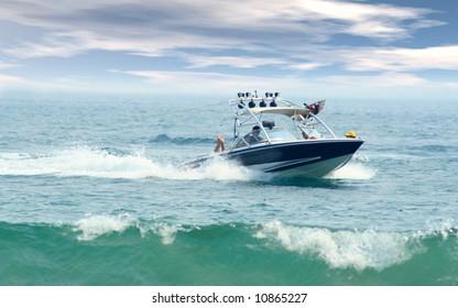 Speed boat cruising through ocean waves