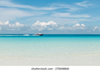 Speed boat on the blue sea