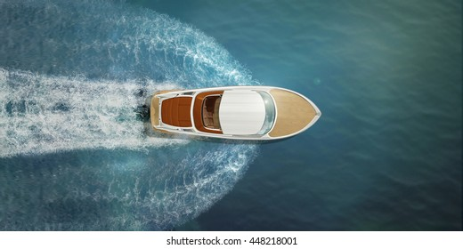 Speed boat at sea, view from above - Shutterstock ID 448218001
