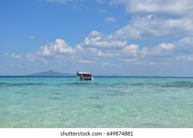 speed boat service for taking tourists to the island in high season of traveling, beautiful blue sky and crystal clear sea water, Thailand