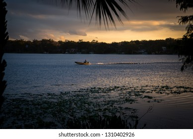 Speed Boat at Sunset