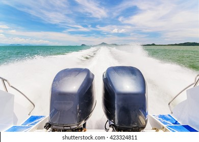 Speed Boat's Engines with Full Speed Drive in Andaman, Krabi, Thailand.