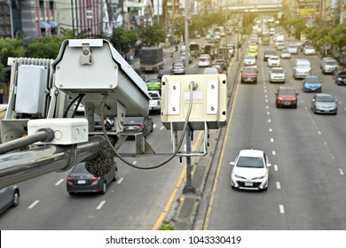 Speed camera car in Thailand.Concept for surveillance on highway,street and tool of police,control drive.
